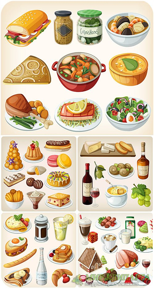 Еда в векторе, мясные блюда, десерт / Vector food, meat dishes, dessert