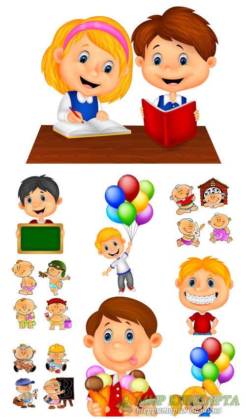 Маленькие дети, дети с игрушками в векторе / Little children , children wit ...