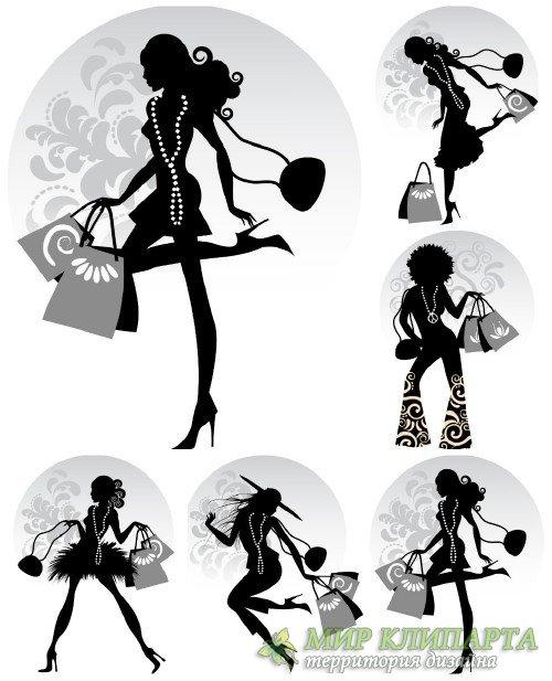 Модные девушки с покупками, вектор / Fashion girl with shopping vector