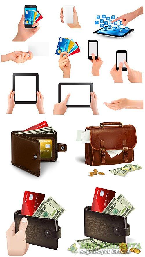 Деньги и банковские карточки, бизнес вектор / Money, bank cards, business v ...