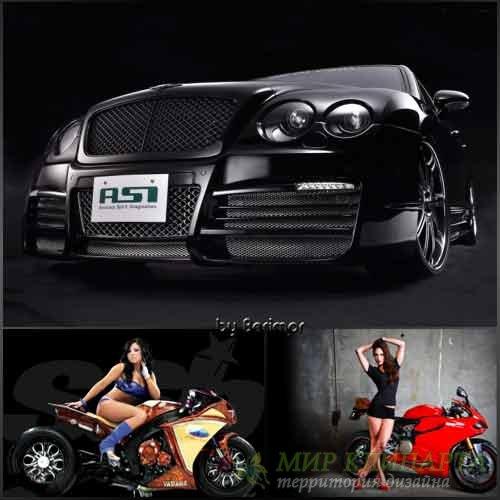 Замечательные  и разнообразные мотоциклы и машины на черном фоне