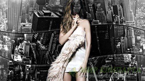 Шаблон для фото - В белом платье на фоне Нью-Йорка