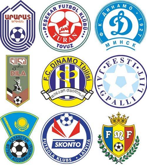 Логотипы футбольных команд стран СНГ в векторе