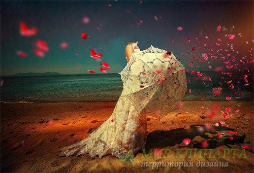 Женский шаблон - Прогулка по берегу в кружевном платье с белым зонтиком