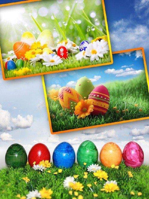 Пасхальные яйца, корзинки и кролики (подборка изображений)