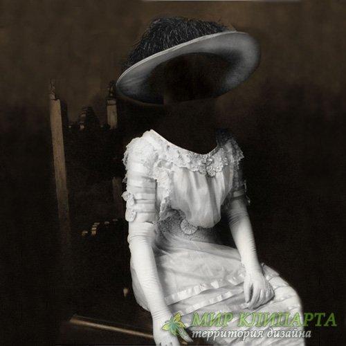 Шаблон для девушек - Дама в старинном платье портрет