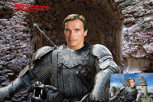 Шаблон для фотошоп - Рыцарь у замка