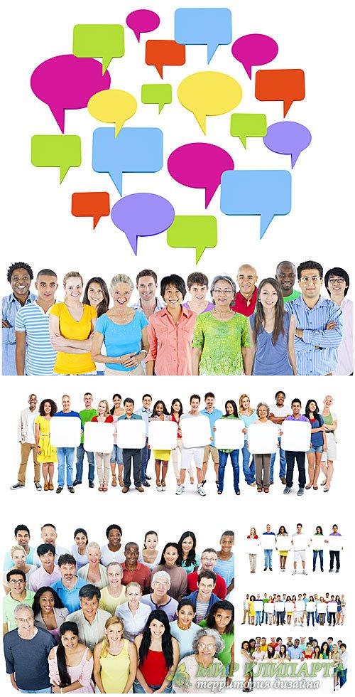 Люди разных народов мира с табличками и плакатами / People of different nat ...