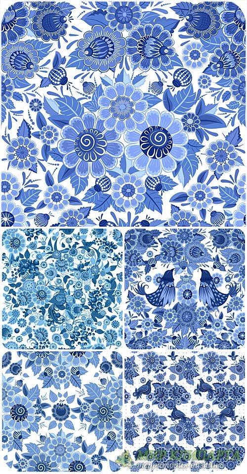 Цветочные синие фоны с птицами, вектор / Blue floral background with birds, ...