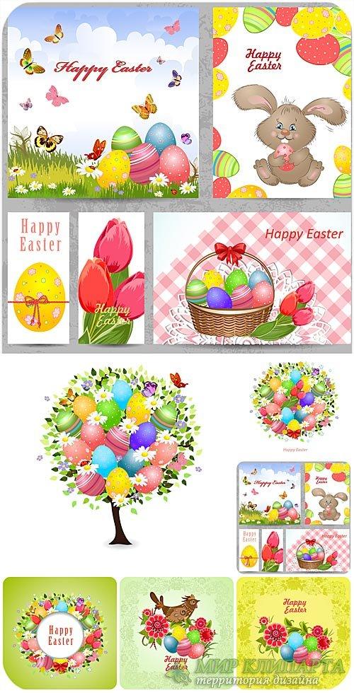 С праздником пасхи, векторные пасхальные фоны и элементы / Happy Easter, Ea ...