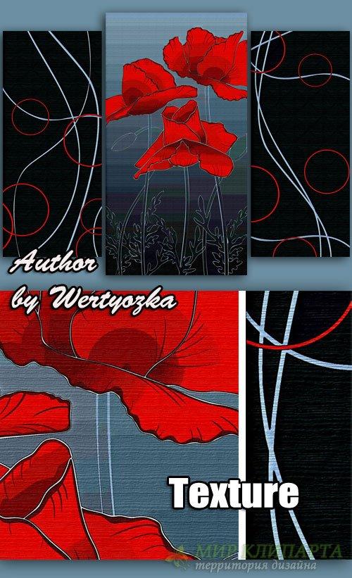 Модульная картина триптих - Красные маки, абстракция