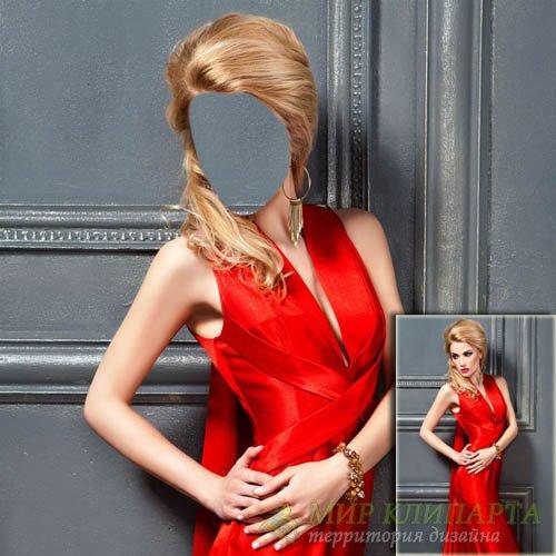 Шаблон женский - В красивом красном вечернем платье