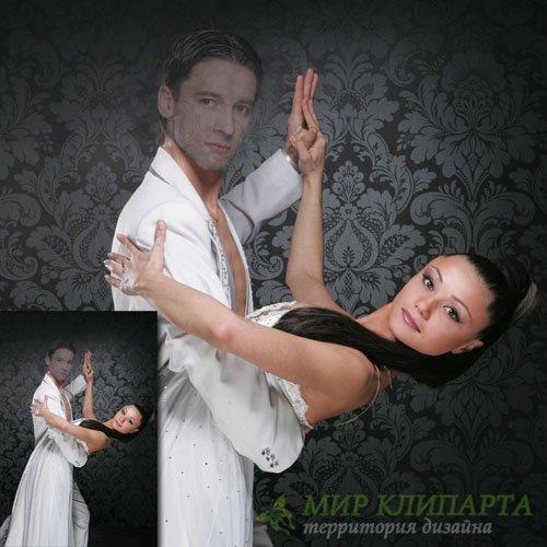 Шаблон для фото - С девушкой в танце