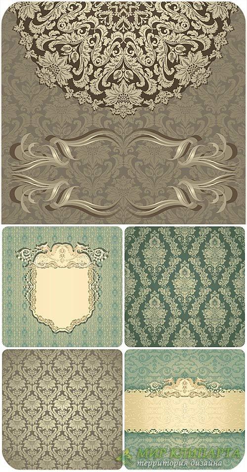 Узоры, винтажные векторные фоны / Patterns, vintage vector backgrounds