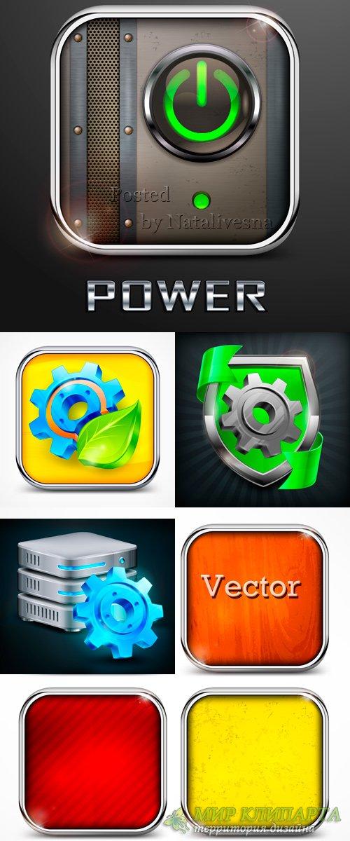 Иконки в Векторе - Кнопки с шестерёнками и кнопка Power