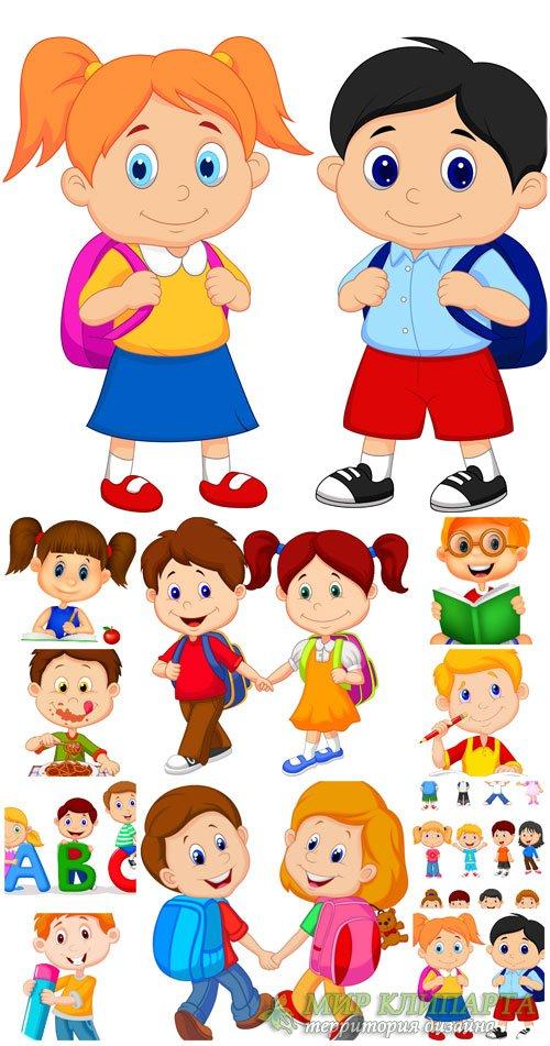 Маленькие дети в векторе, мальчики и девочки, школьники / Small children in ...