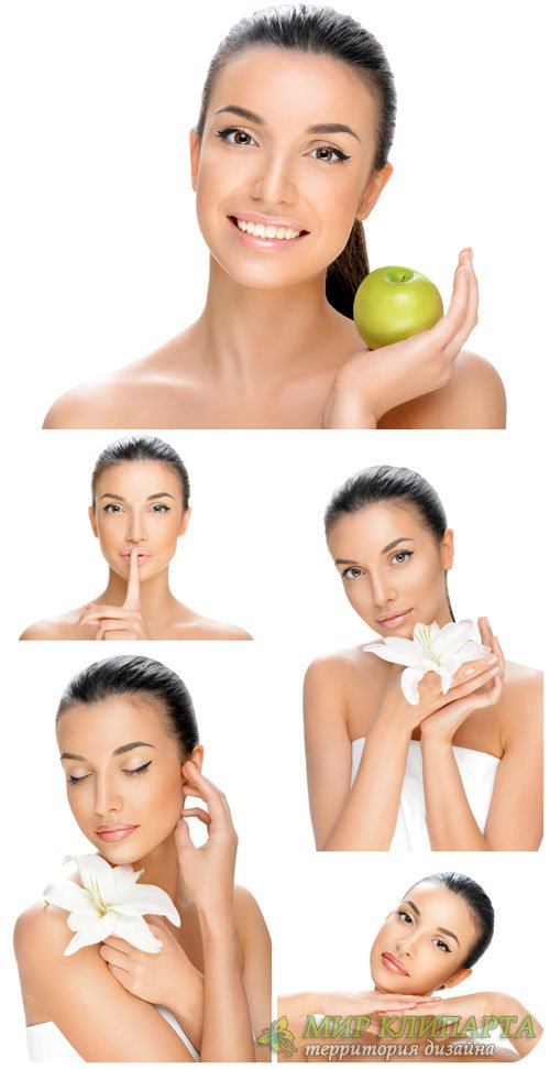 Девушка с лилией и яблоком / Girl with lily and apple - Stock Photo