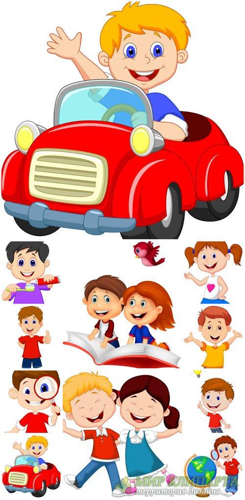 Маленькие мальчики и девочки в векторе, дети / Little boys and girls vector ...