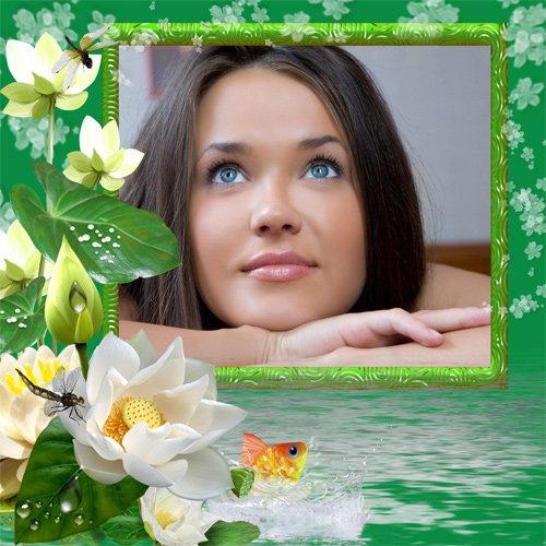 Рамка женская Росинки на листьях