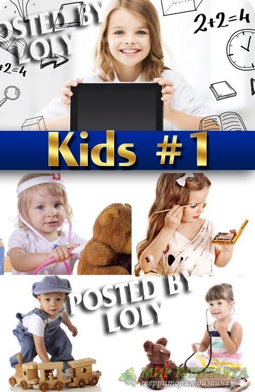 Дети с игрушками #1 - Растровый клипарт