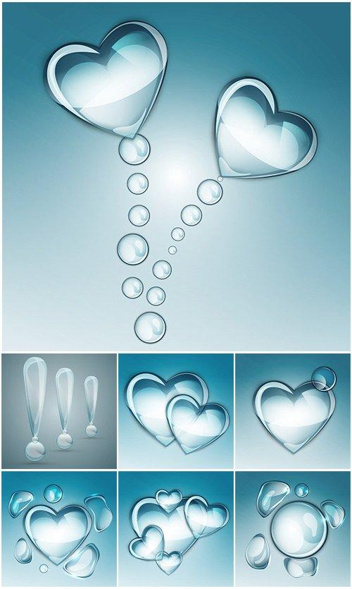 Сердечко и вопросительный знак из водяных капелек - вектор