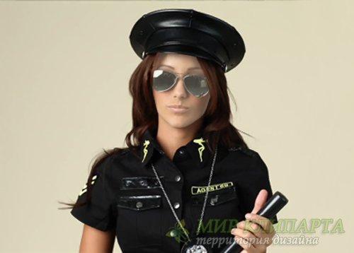 Шаблон psd женский - В форме полиции