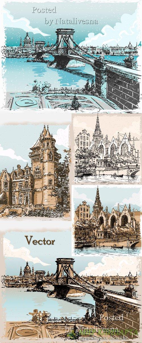 Пейзаж в Векторе с башнями и мостом
