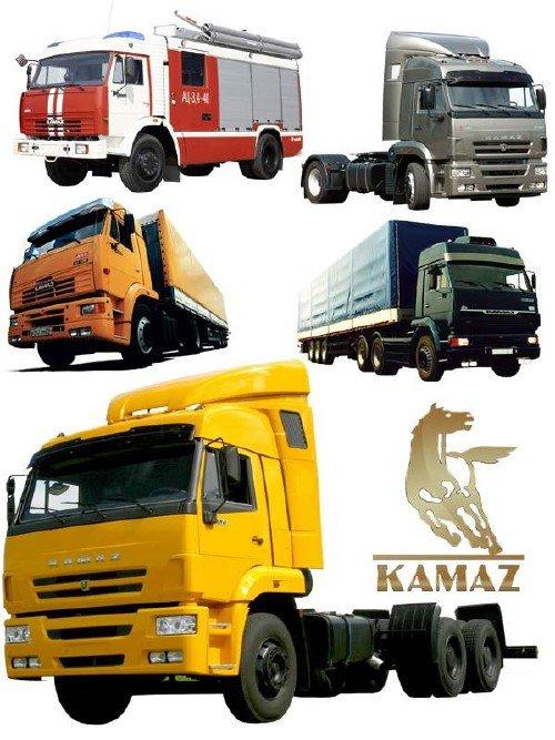Самосвалы, грузовики, тягачи марки КАМАЗ (прозрачный фон)