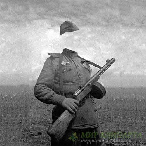 Шаблон мужской - Солдат с автоматом в годы войны
