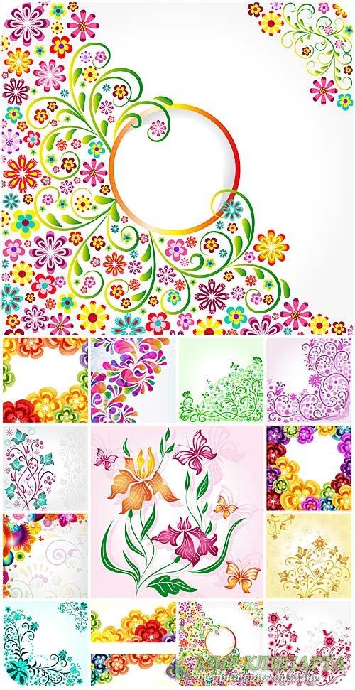 Цветы, векторные фоны с узорами и цветами / Flowers, vector backgrounds wit ...