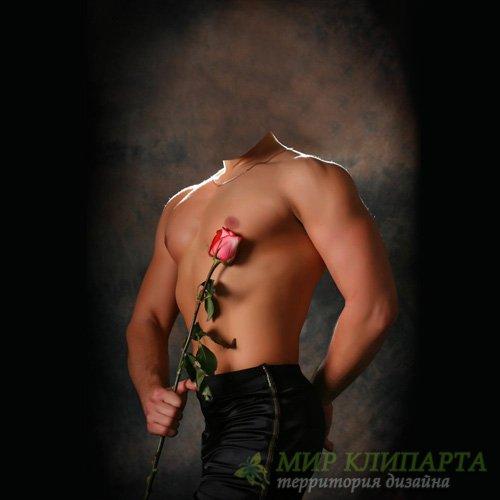 Мужской шаблон - Парень с красивым телом дарит розу
