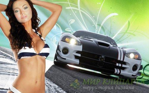Шаблон для фотомонтажа - Красивая девушка в купальнике на фоне спортивной м ...