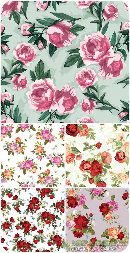 Розы, векторные фоны с цветами / Vector background with roses, floral backg ...