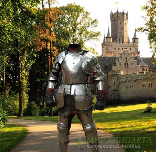 Шаблон psd - Рыцарь в доспехах в парке возле замка