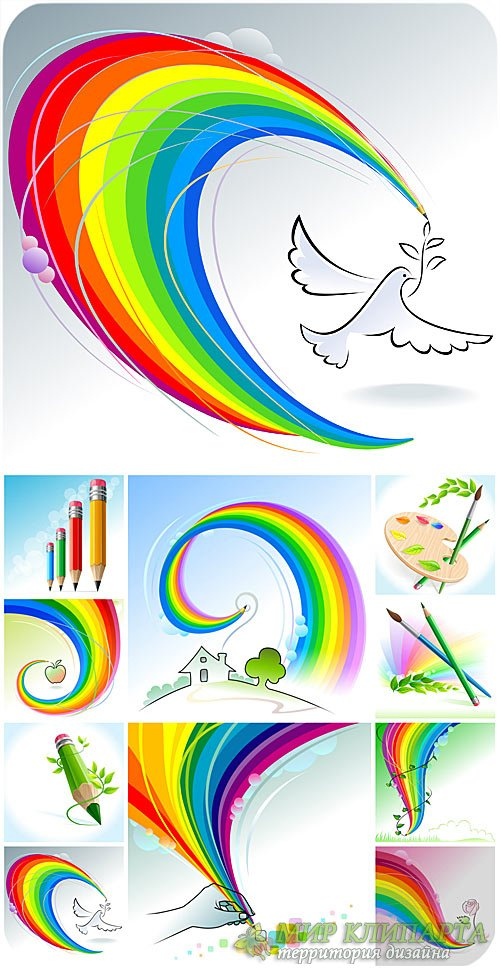 Радужные фоны, карандаши и краски в векторе / Rainbow backgrounds, pencils  ...