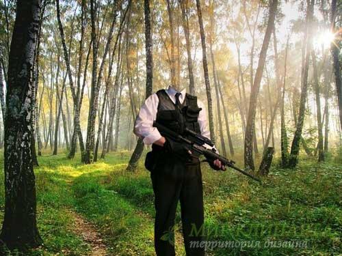 Снайпер в лесу - шаблон psd