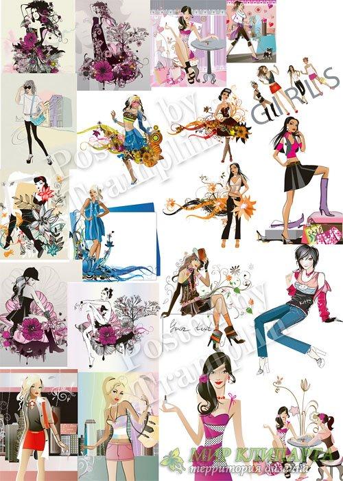 Девушки в векторе - Girls in a vector