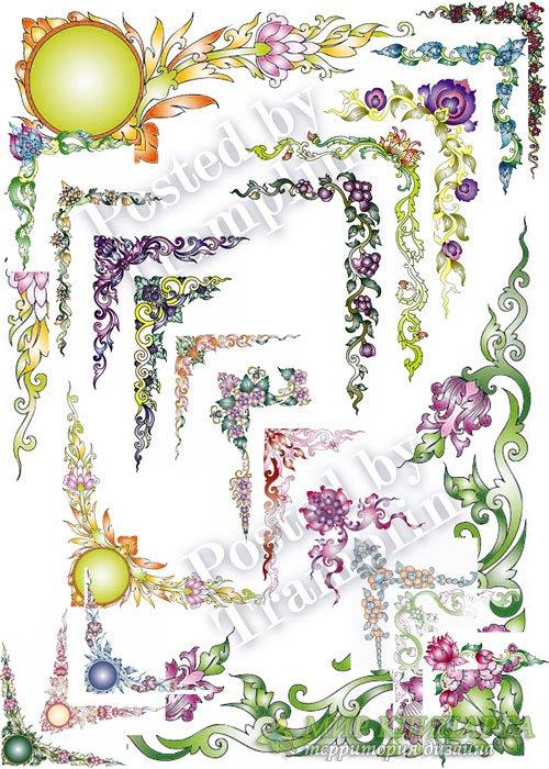 Цветочные уголки в векторе - Flower corners in a vector