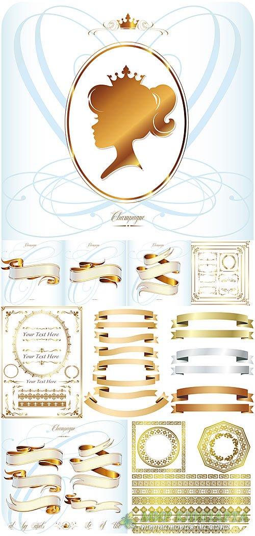 Золотые дизайнерские элементы в векторе / Gold design elements , vector fra ...