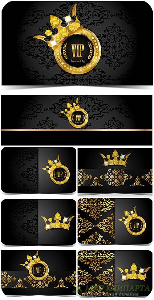 Вип карточки с золотыми узорами, вектор / VIP card with golden ornaments, v ...