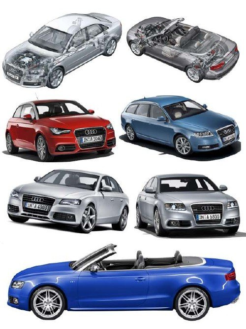 Автомобили марки AUDI (прозрачный фон)