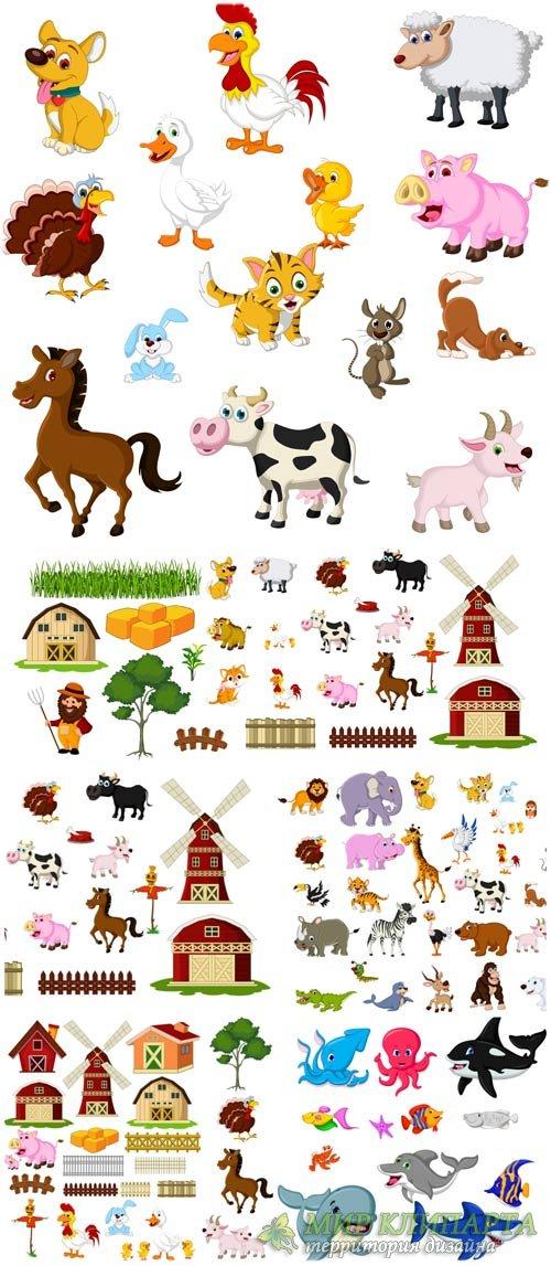 Животные в векторе, морские животные / Vector animals, marine animals