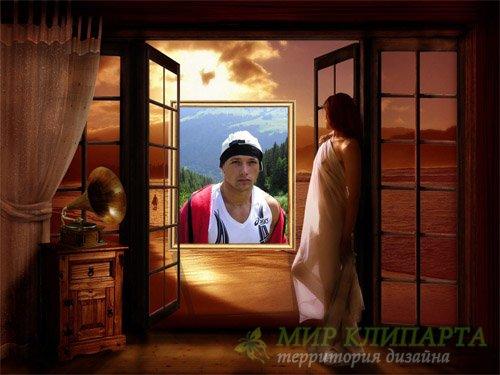 Рамка для фото мужская - Девушка у двери на море