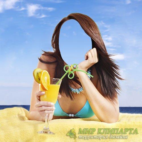 PSD шаблон для девушек - Летом на море