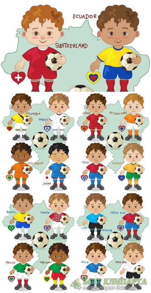 Детские футбольные команды разных стран мира, вектор / Youth football teams ...