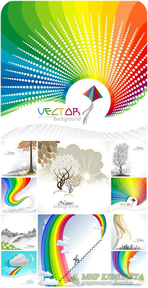 Природные и радужные фоны в векторе / Natural and bright backgrounds vector