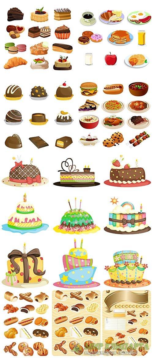 Еда в векторе, выпечка, тортики / Vector food, pastries, cakes