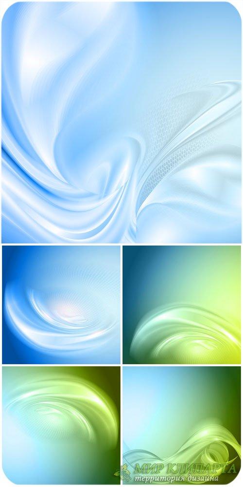 Синие и зеленые векторные фоны с абстракцией / Blue and green vector backgr ...