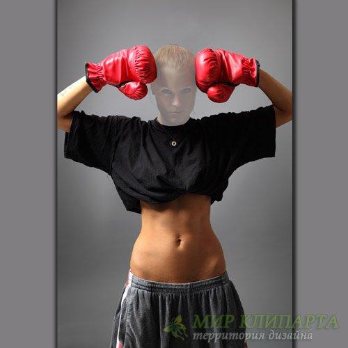 Шаблон для фото - Девушка боксер