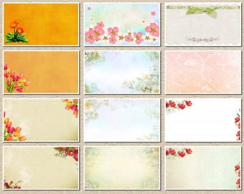 Фоны для визиток и дизайна цветочные. 13 JPEG